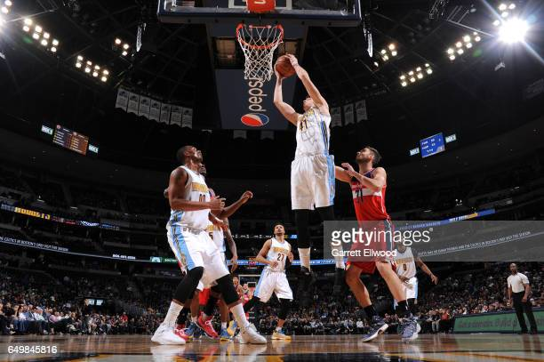 Juancho Hernangomez of the Denver Nuggets shoots the ball against the Washington Wizards during the game on March 8 2017 at the Pepsi Center in...