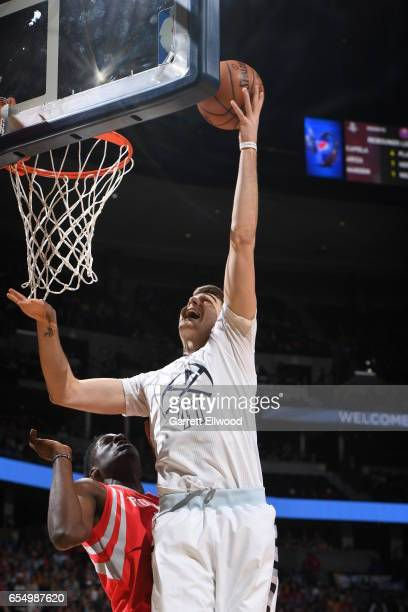 Juancho Hernangomez of the Denver Nuggets shoots the ball against the Houston Rockets on March 18 2017 at the Pepsi Center in Denver Colorado NOTE TO...