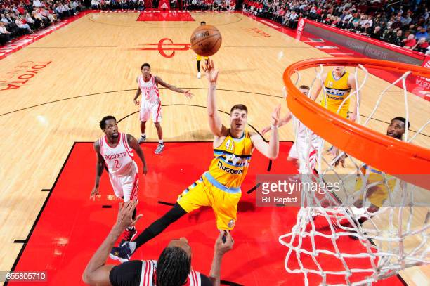 Juancho Hernangomez of the Denver Nuggets shoots the ball during a game against the Houston Rockets on March 20 2017 at the Toyota Center in Houston...
