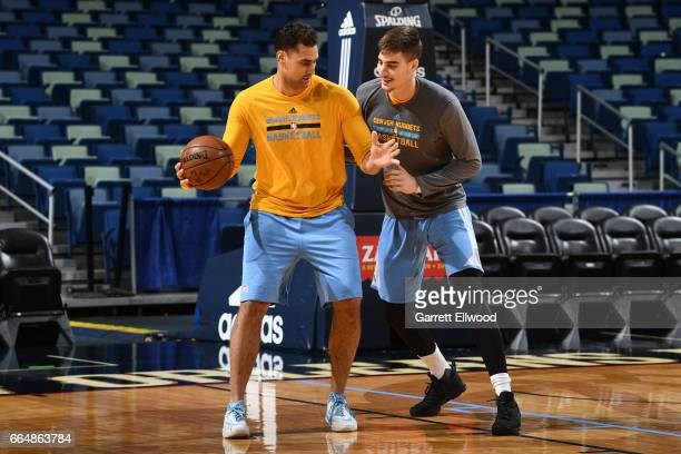 Juancho Hernangomez of the Denver Nuggets works on defense in practice on April 4 2017 at the Smoothie King Center in New Orleans Louisiana NOTE TO...