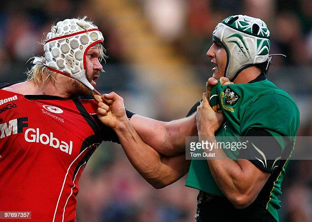 Juandre Kruger of Northampton Saints and Mouritz Botha of Saracens get into a fight during the LV Anglo Welsh Cup Semi Final match between...