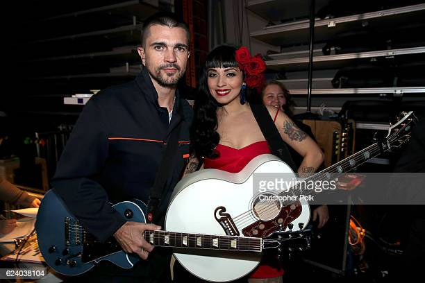 Juanes and Mon Laferte attend The 17th Annual Latin Grammy Awards at TMobile Arena on November 17 2016 in Las Vegas Nevada