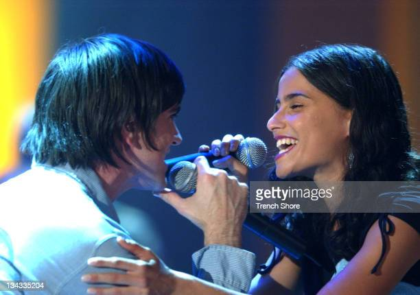 Juanes and Nelly Furtado rehearsing for their appearance on the 2002 ALMA Awards at the Shrine Auditorium in Los Angeles