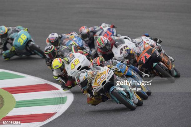 Juanfran Guevara of Spain and RBA BOE Racing Team leads the field during the Moto3 race during the MotoGp of Italy Race at Mugello Circuit on June 4...