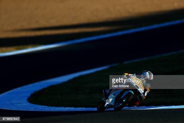 Juanfran Guevara of Spain and the RBA BOE Racing Team rides during warmup for Moto3 at Circuito de Jerez on May 7 2017 in Jerez de la Frontera Spain