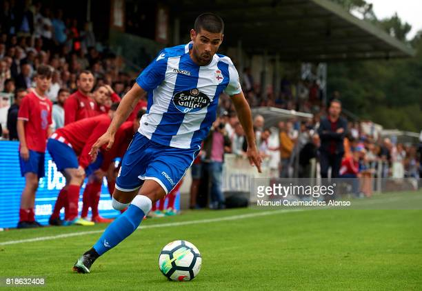 Juanfran Moreno of Deportivo de La Coruna in action during the preseason friendly match between Cerceda and Deportivo de La Coruna at O Roxo Stadium...