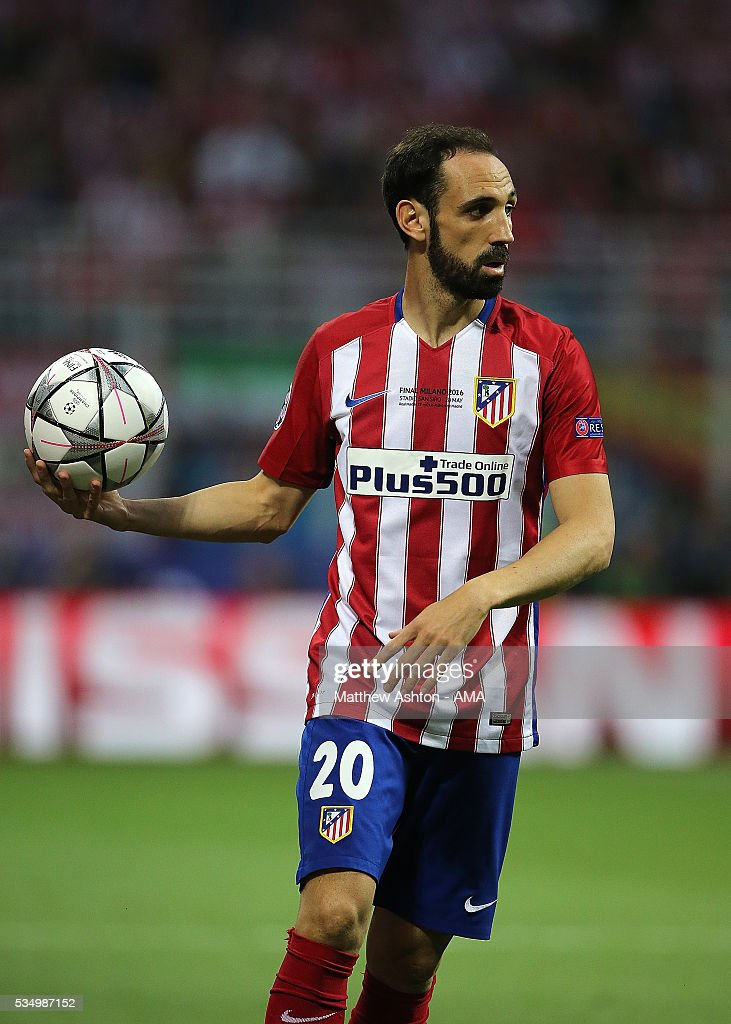 <a gi-track='captionPersonalityLinkClicked' href=/galleries/search?phrase=Juanfran+-+Soccer+Right+Back+born+1985&family=editorial&specificpeople=2634439 ng-click='$event.stopPropagation()'>Juanfran</a> of Atletico Madrid in action during the UEFA Champions League final match between Real Madrid and Club Atletico de Madrid at Stadio Giuseppe Meazza on May 28, 2016 in Milan, Italy.