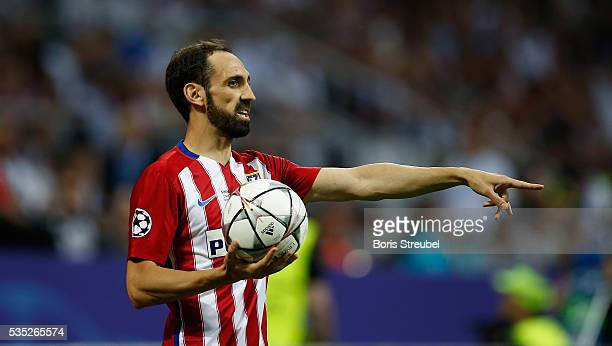 Juanfran of Atletico Madrid takes the throwin during the Champions League final match between Real Madrid and Club Atletico de Madrid at Stadio...