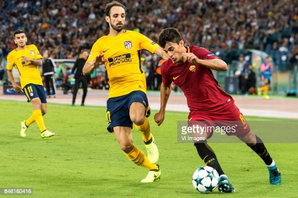 Juanfran of Club Atletico de Madrid Diego Perotti of AS Roma during the UEFA Champions League group C match match between AS Roma and Atletico Madrid...