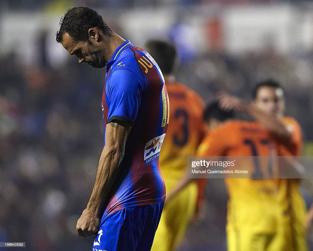 Juanfran of Levante looks dejected during the la Liga match between Levante UD and FC Barcelona at Ciutat de Valencia on November 25, 2012 in Valencia, Spain.