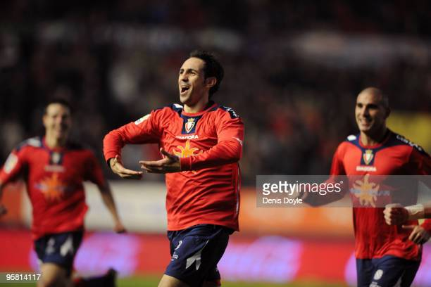 Juanfran of Osasuna celebrates after scoring Osasuna's first goal in the La Liga match between Espanyol and Osasuna at the Reyno de Navarra stadium...