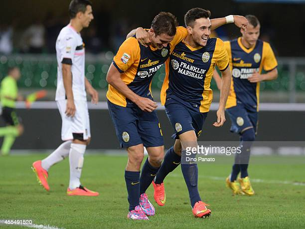 Juanito Gomez Tab of Hellas Verona celebrates after scoring his teams second goal during the Serie A match between Hellas Verona FC and US Citta di...