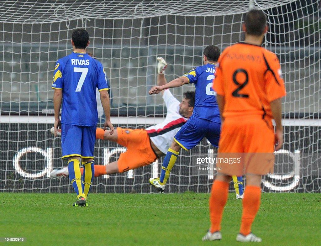 Juanito Gomez Taleb of Hellas Verona scores his second penalty goal during the Serie B match between Hellas Verona FC and Virtus Lanciano at Stadio Marc'Antonio Bentegodi on October 27, 2012 in Verona, Italy.