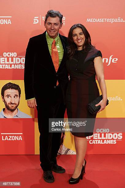 Juanjo Pardo and actress Llum Barrera attend the 'Ocho Apellidos Catalanes' premiere at the Capitol cinema on November 18 2015 in Madrid Spain