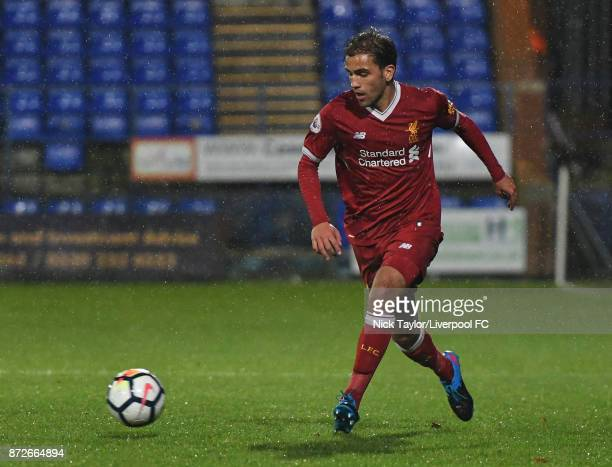 Juanma Garcia of Liverpool in action during the Liverpool U23 v Newcastle United U23 Premier League International Cup game at Prenton Park on...