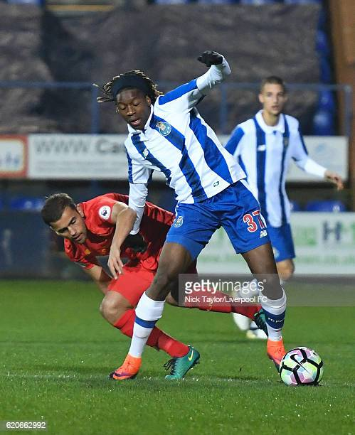 Juanma of Liverpool and Joris Ditu of Porto in action during the Premier League International Cup game at Prenton Park on November 2 2016 in...