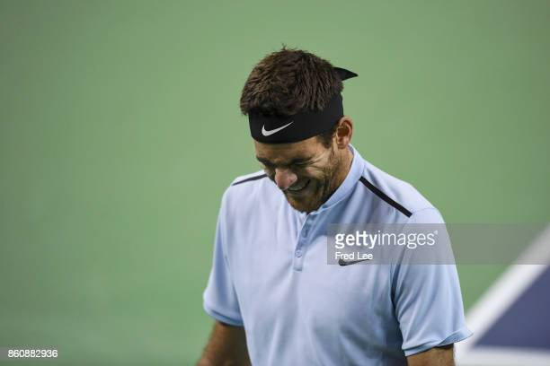 JuanMartin Del Potro of Argentina during his loss the Men's singles quarter final mach Viktor Troicki of Serbia on day six of 2017 ATP Shanghai Rolex...