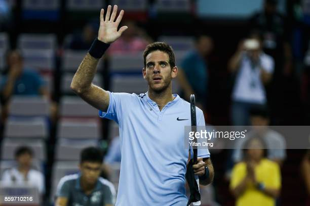 JuanMartin Del Potro of Argentina greets the audience after winning the Men's singles mach against Andrey Rublev of Russia on day 3 of Shanghai Rolex...