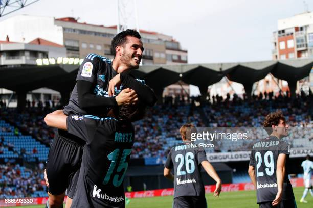 Juanmi Jimenez forward of Real Sociedad de Futbol and Aritz Elustondo defender of Real Sociedad de Futbol celebrate a goal during the La Liga...