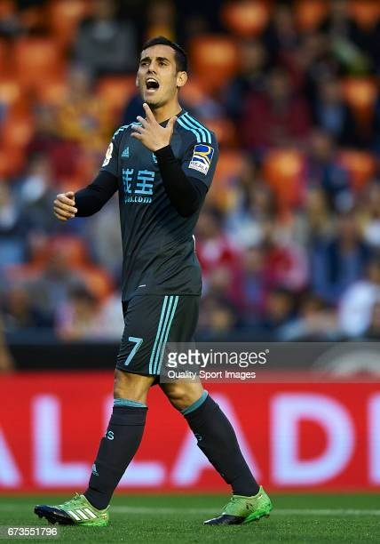 Juanmi Jimenez of Real Sociedad reacts during the La Liga match between Valencia CF and Real Sociedad de Futbol at Mestalla Stadium on April 26 2017...