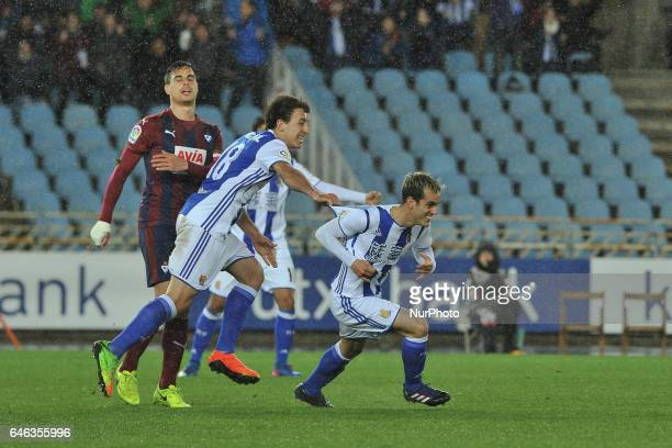 Juanmi of Real Sociedad celebrates his goal after scoring against Oyarzabal during the Spanish league football match between Real Sociedad and Eibar...