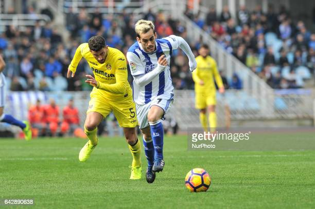 Juanmi of Real Sociedad duels for the ball with Musacchio of Villarreal during the Spanish league football match between Real Sociedad and Villarreal...