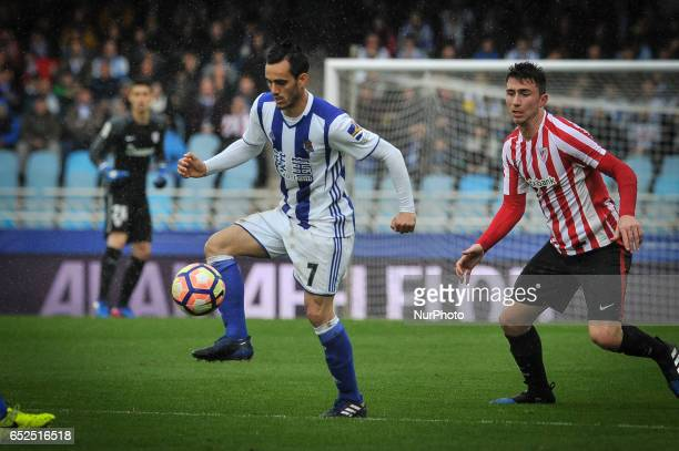Juanmi of Real Sociedad during the Spanish league football match between Real Sociedad and Atlhetic Club at the Anoeta Stadium in San Sebastian on 12...