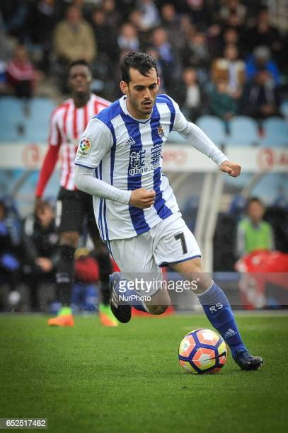 Juanmi of Real Sociedad during the Spanish league football match between Real Sociedad and Atlhetic Club at the Anoeta Stadium in San Sebastian on 12...