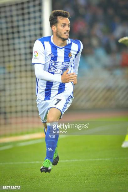 Juanmi of Real Sociedad during the Spanish league football match between Real Sociedad and Sporting Gijon at the Anoeta Stadium in San Sebastian on...