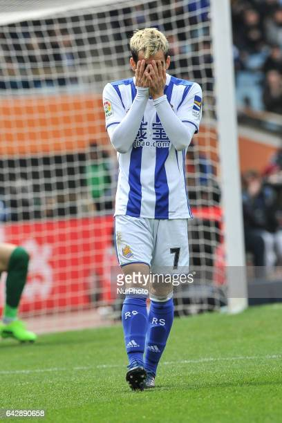 Juanmi of Real Sociedad reacts during the Spanish league football match between Real Sociedad and Villarreal at the Anoeta Stadium in San Sebastian...