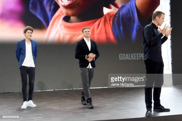 Juanpa Zurita Casey Neistat and Jerome Jarre speak speaks at Goalkeepers 2017 at Jazz at Lincoln Center on September 20 2017 in New York City...