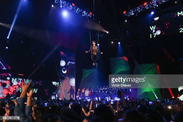 Juanpa Zurita flies over the stage during the MTV MIAW Awards 2017 at Palacio de Los Deportes on June 3 2017 in Mexico City Mexico