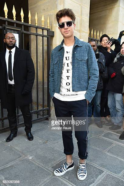 Juanpa Zurita is seen arriving at Louis Vuitton Fashion Show during Paris Fashion Week Menswear Fall/Winter 2017/2018 on January 19 2017 in Paris...