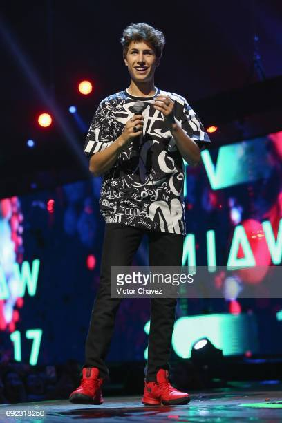 Juanpa Zurita speaks on stage during the MTV MIAW Awards 2017 at Palacio de Los Deportes on June 3 2017 in Mexico City Mexico