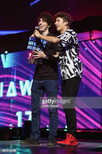 Juanpa Zurita speaks on stage during the MTV MIAW Awards 2017 at Palacio de Los Deportes on June 3 2017 in Mexico City Mexico