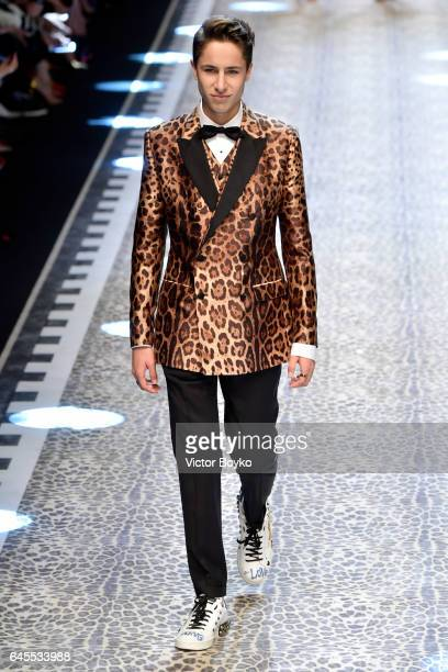 Juanpa Zurita walks the runway at the Dolce Gabbana show during Milan Fashion Week Fall/Winter 2017/18 on February 26 2017 in Milan Italy