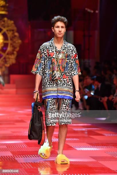 Juanpa Zurita walks the runway at the Dolce Gabbana show during Milan Men's Fashion Week Spring/Summer 2018 on June 17 2017 in Milan Italy