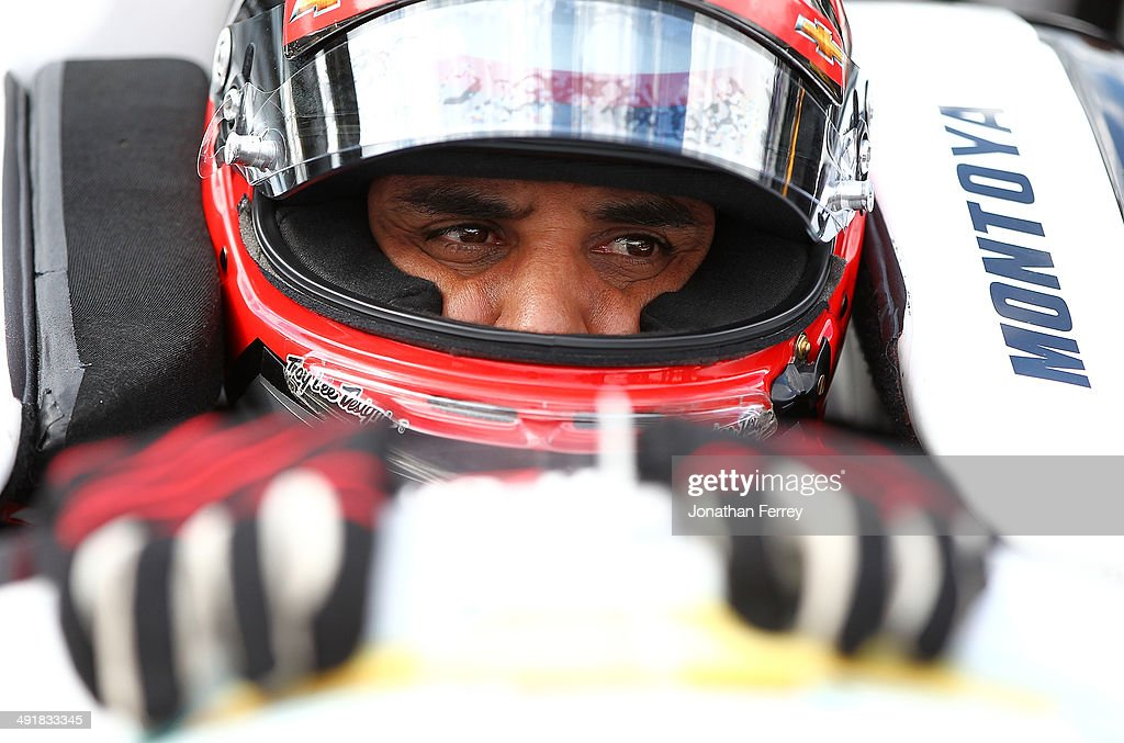 Juan-Pablo Montoya of Columbia, driver of the #2 Verizon Team Penske Chevrolet Dallara, waits to qualify for the 98th Indianapolis 500 Mile Race on May 17, 2014 at the Indianapolis Motor Speedway in Indianapolis, Indiana.