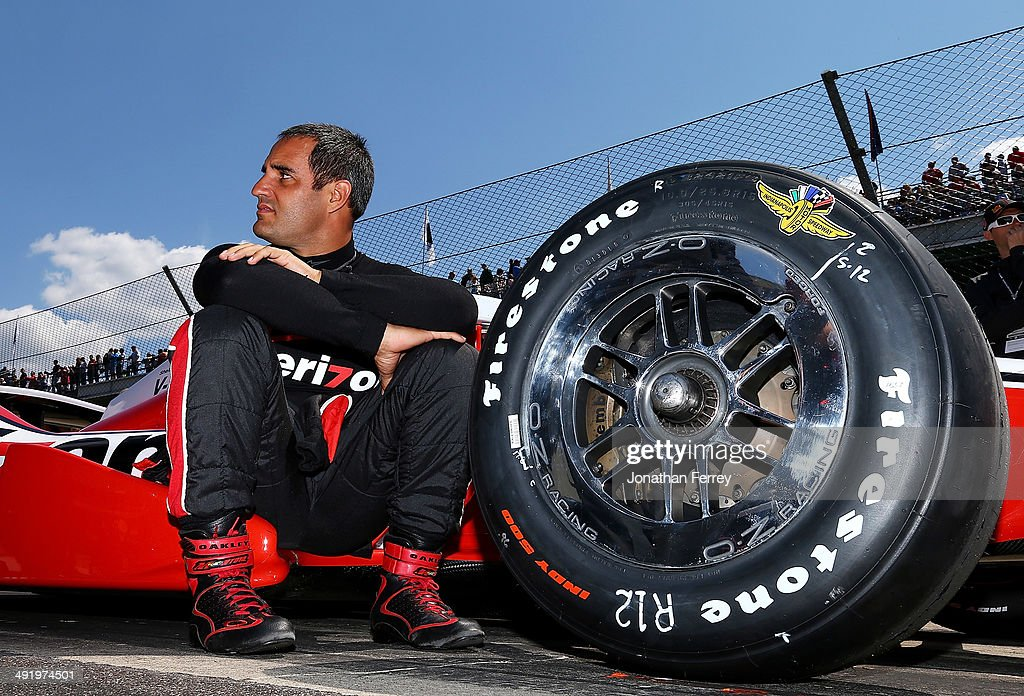 Juan-Pablo Montoya of Columbia, driver of the #2 Verizon Team Penske Chevrolet Dallara, waits to qualify for the 98th Indianapolis 500 Mile Race on May 18, 2014 at the Indianapolis Motor Speedway in Indianapolis, Indiana.