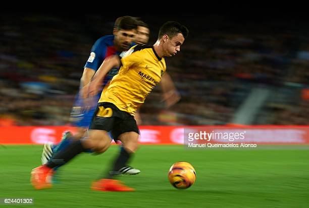 Juanpi of Malaga runs with the ball during the La Liga match between FC Barcelona and Malaga CF at Camp Nou stadium on November 19 2016 in Barcelona...