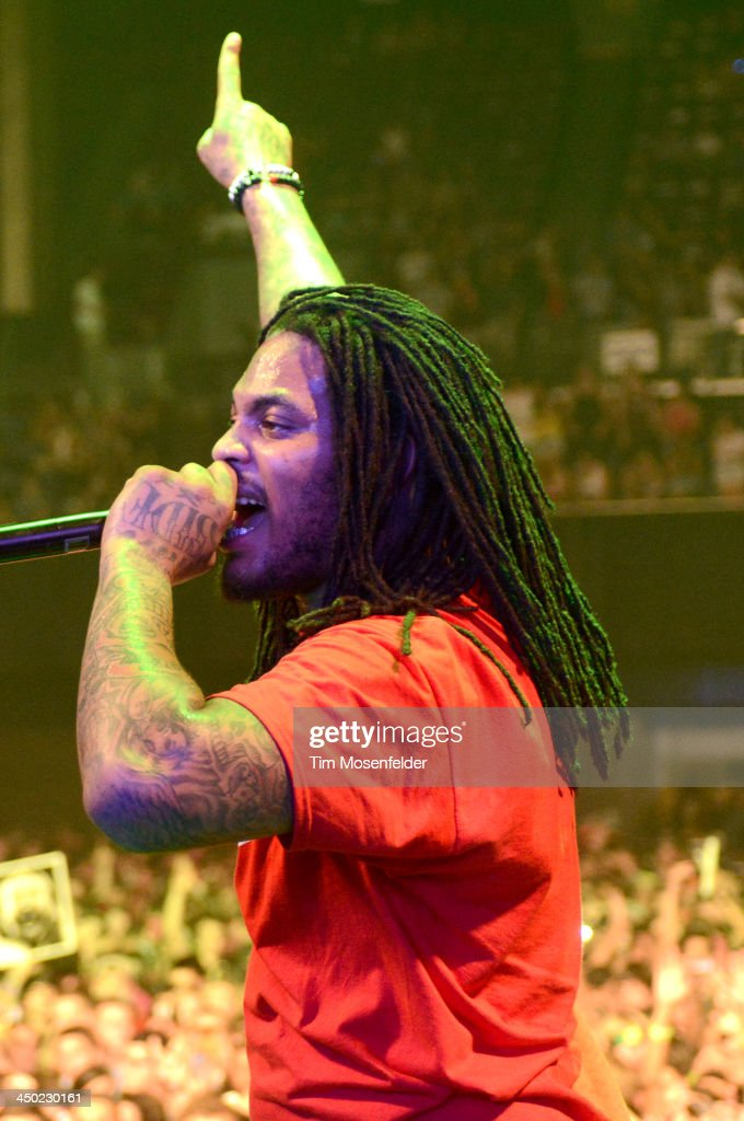 Juaquin Malphurs aka Waka Flocka Flame performs in adavance of his Flockaveli 2 release at the Bill Graham Civic Auditorium on November 16, 2013 in Oakland, California.