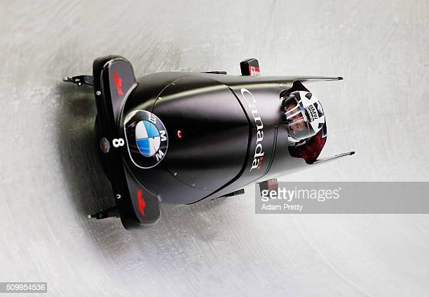 Juastin Kripps Alexander Kopacz of Canada complete their first run in the Men's 2man Bobsleigh during Day 2 of the IBSF World Championships for Bob...