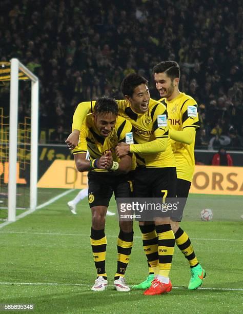 2 von PierreEmerick Aubameyang mit Shinji Kagawa Nuri Sahin Fussball 1 Bundesliga Borussia Dortmund FSV Mainz 05