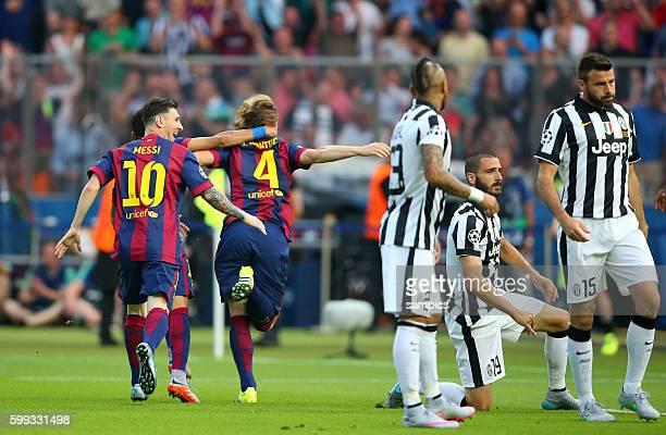 JUbel von Ivan Rakitic FC Barcelona und Lionel Messi FC Barcelona nach dem 01 Leonardo Bonucci Andrea Barzagli Arturo Vidal Fussball Championsleague...