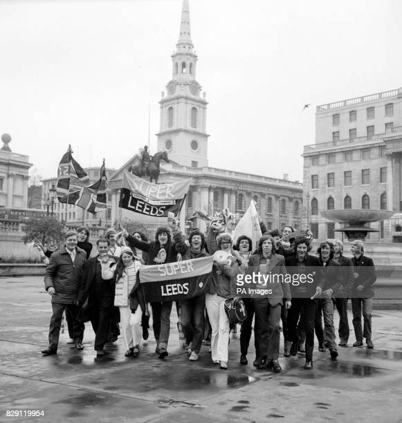 Jubilant Leeds supporters in London in ample time for the Cup Final seen in Trafalgar Square in high spirits