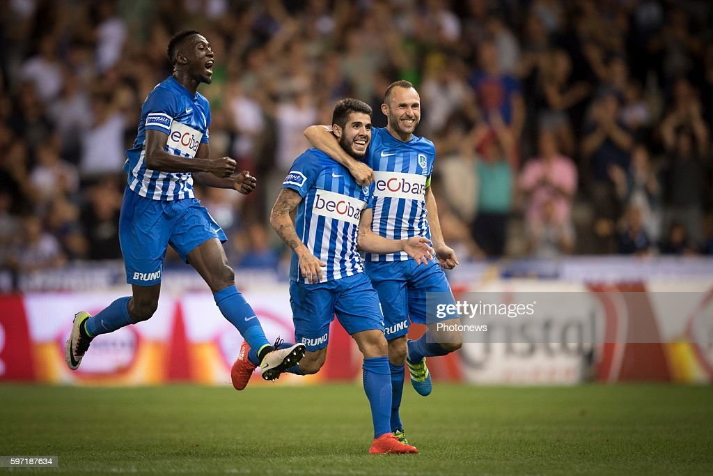 Jubilation after scoring of Alejandro Pozuelo midfielder of KRC Genk pictured during the Jupiler Pro League match between KRC Genk and Zulte Waregem...