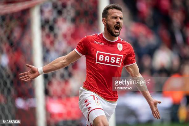 Jubilation after scoring of Orlando Sa forward of Standard Liege during the Jupiler Pro League match between Standard de Liege and Kaa Gent on in...