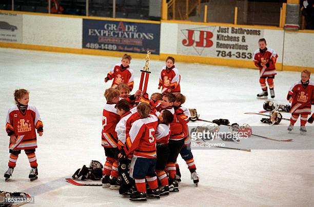 Jubilation for Leaside Flames/Mites/ team after beating Applewood Wee Cree from Missassuga 43 in shootoutgame was 11they play sudendeath overtime and...