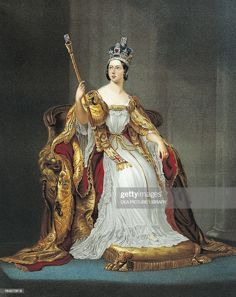Jubilee of Queen Victoria wearing the clothes and the insignia of the coronation in 1837 Queen of the United Kingdom