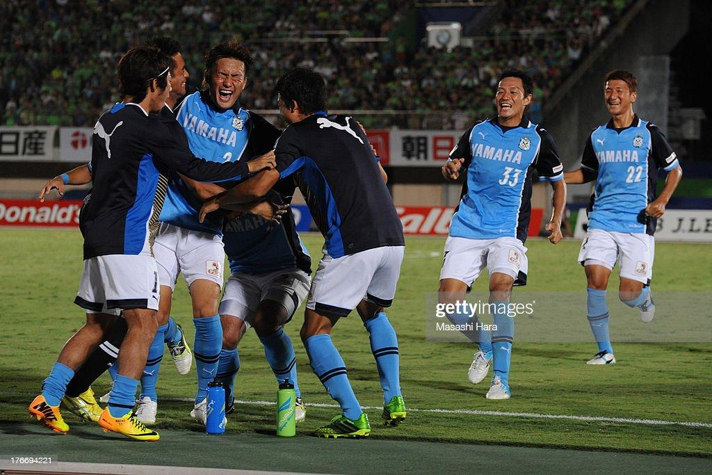 Jubilo Iwata players celebrate the first goal during the J.League match between Shonan Bellmare and Jubilo Iwata at BMW Stadium Hiratsuka on August 17, 2013 in Hiratsuka, Kanagawa, Japan.